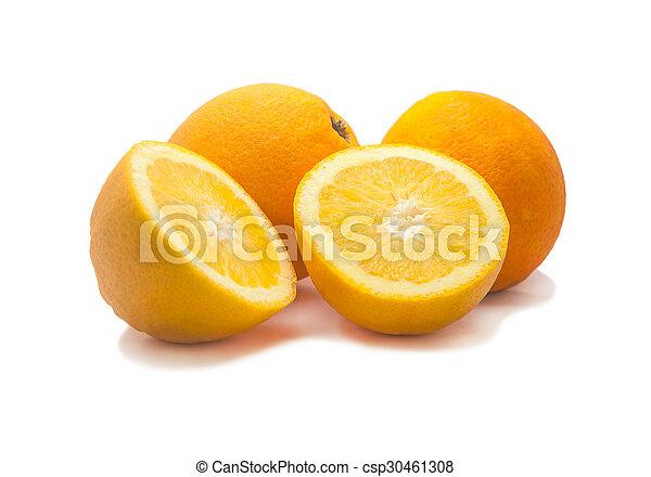 Orange fruit sliced isolated, Clipping path - csp30461308