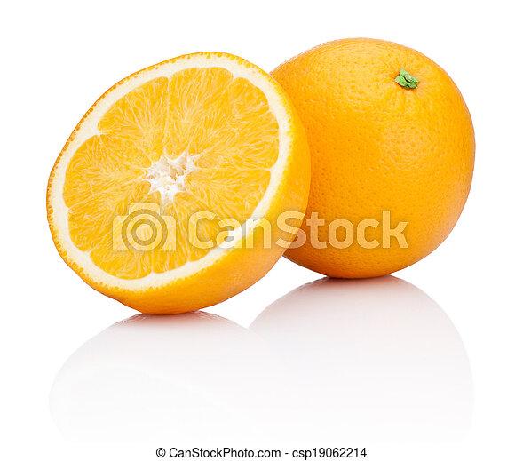Orange fruit sliced isolated on white background - csp19062214