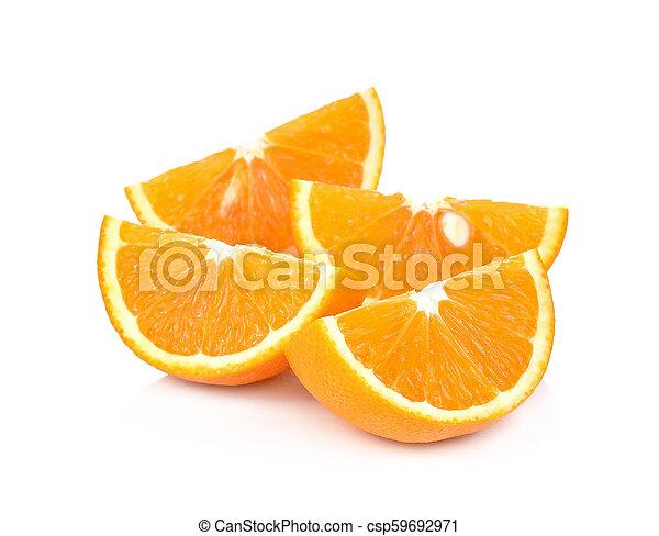 Orange fruit sliced isolated on white background - csp59692971