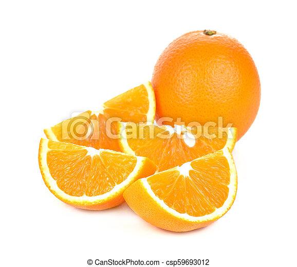 Orange fruit sliced isolated on white background - csp59693012