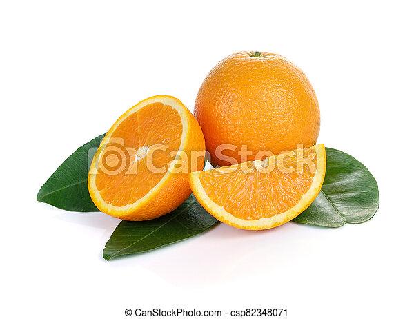 Orange fruit sliced isolated on white background - csp82348071