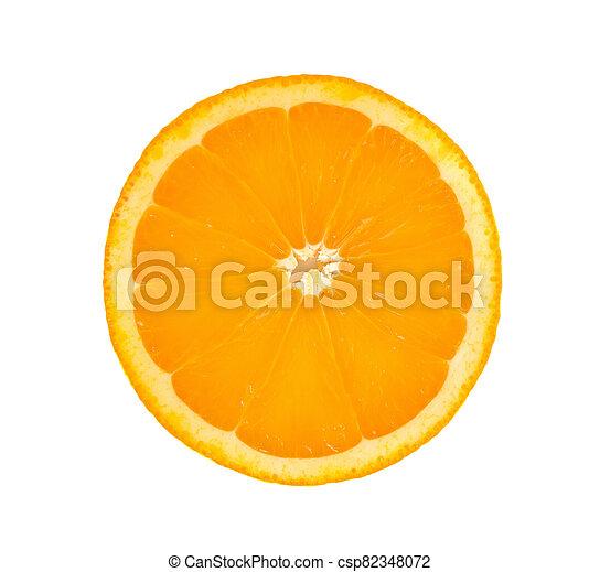 Orange fruit sliced isolated on white background - csp82348072