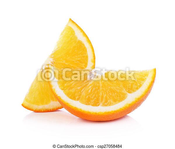Orange fruit sliced isolated on white background - csp27058484