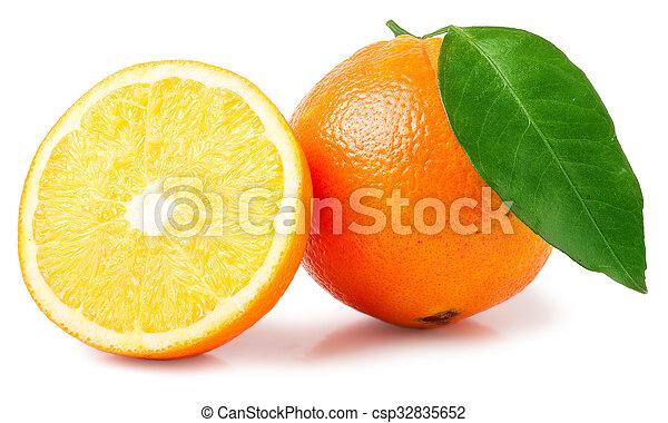 Orange fruit sliced isolated on white background - csp32835652