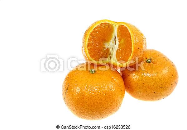 Orange fruit sliced isolated on white - csp16233526