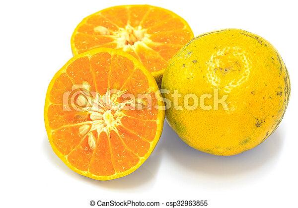 Orange fruit sliced isolated - csp32963855