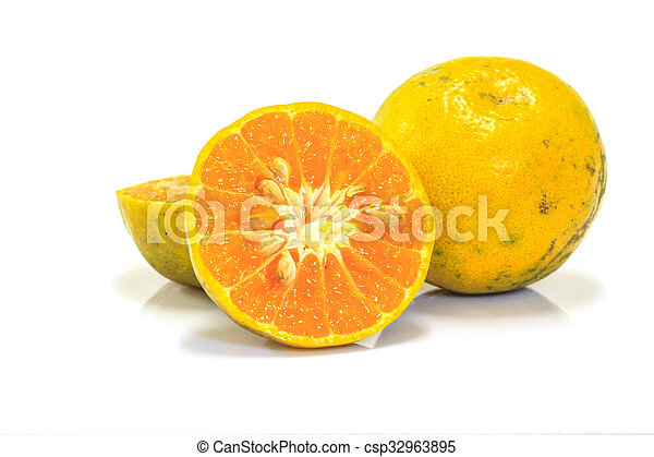 Orange fruit sliced isolated - csp32963895