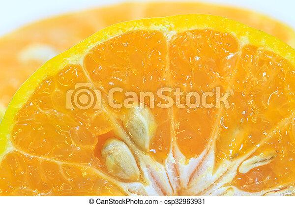 Orange fruit sliced isolated - csp32963931