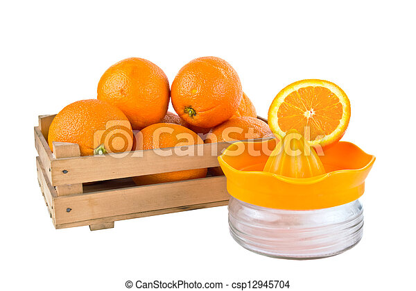 orange fruits in a wooden crate iso - csp12945704