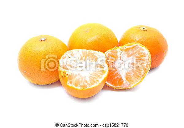 Orange fruits isolated on white background - csp15821770