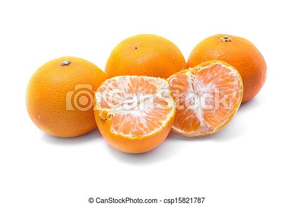 Orange fruits isolated on white background - csp15821787