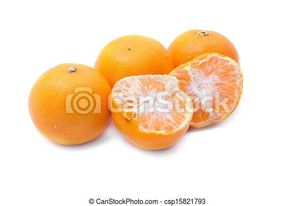 Orange fruits isolated on white background - csp15821793