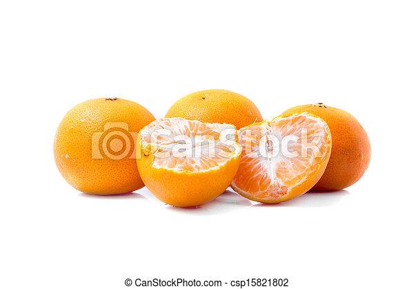 Orange fruits isolated on white background - csp15821802