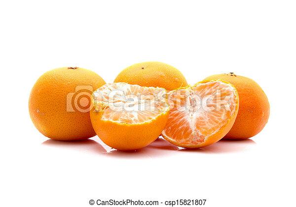 Orange fruits isolated on white background - csp15821807