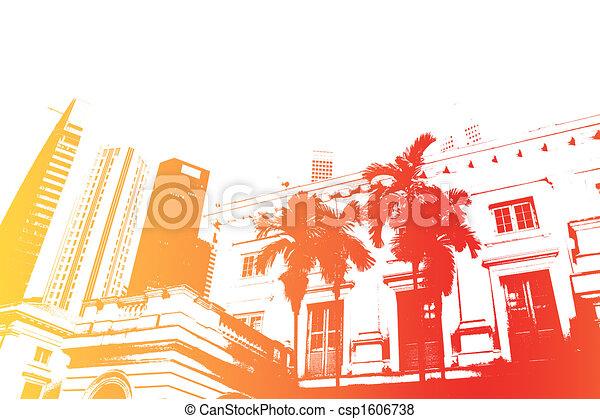 Orange Fun Partying Nightlife Abstract Background - csp1606738