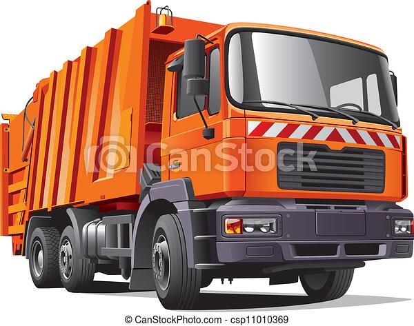 orange garbage truck - csp11010369