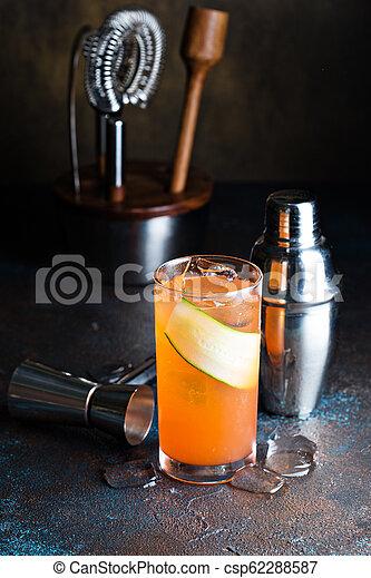 orange, gin, couper, concombre, cocktail - csp62288587