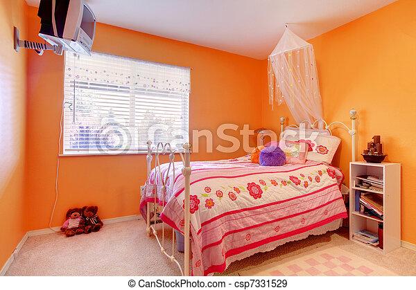 bedroom with tv. Orange Girls Bedroom With Tv And Bed - Csp7331529 D
