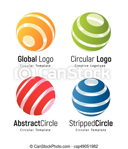 orange global logo template green circular simple logotype red