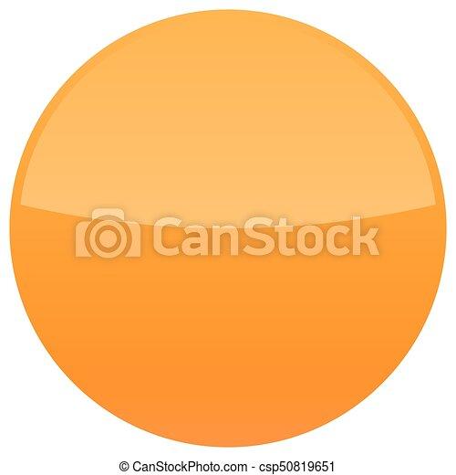 Orange glossy button blank round icon - csp50819651