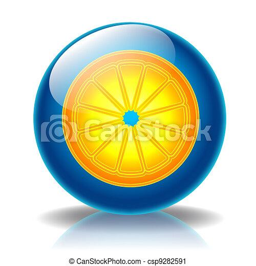 Orange glossy icon - csp9282591