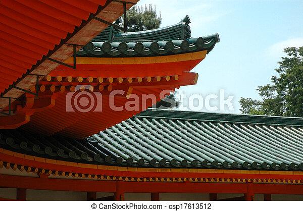 Japanisches Dach orange grün japanisches dach himmelsgewölbe stockfotografie