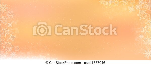 Orange gradient winter banner background with snowflake border - csp41867046