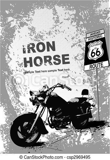 Orange gray background with motorcycle image. Vector illustration - csp2969495