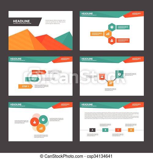 orange green presentation templates infographic elements flat design set for brochure flyer leaflet marketing advertising