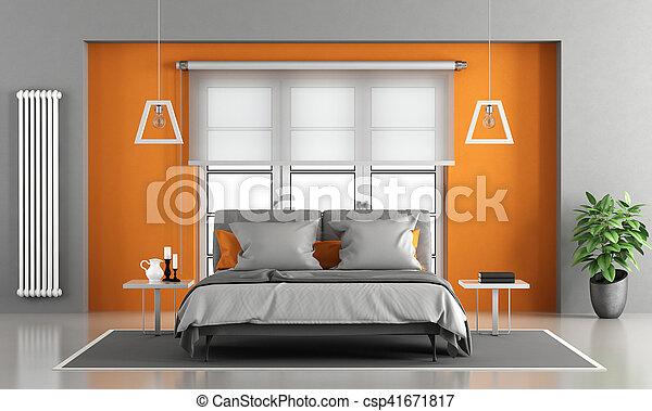 Orange, gris, maître, chambre à coucher. Gris, -, rendre, fenêtre ...