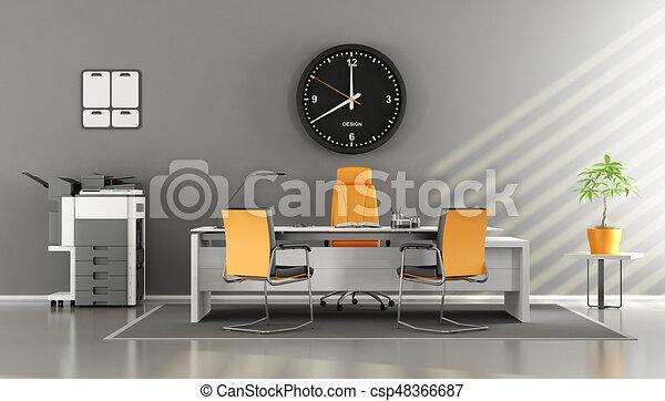 Orange gris moderne bureau. gris bureau moderne