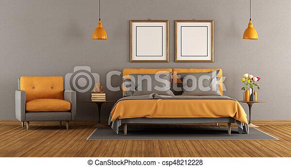 orange, gris, moderne, chambre à coucher