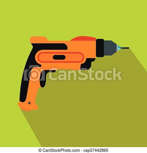 Orange hand drill icon, flat style - csp37442865