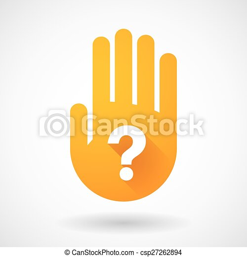 Orange hand icon with a question sign - csp27262894
