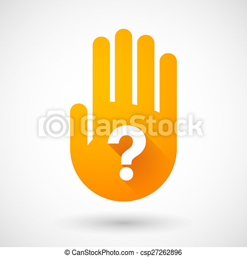 Orange hand icon with a question sign - csp27262896