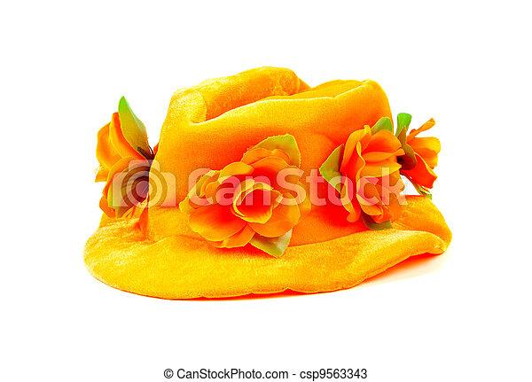 Orange hat with big flowers - csp9563343