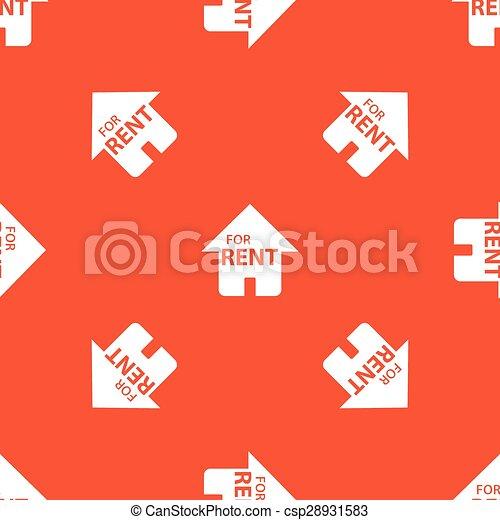 Orange, haus, miete, muster. Haus, bild, wiederholt,... Vektor ...