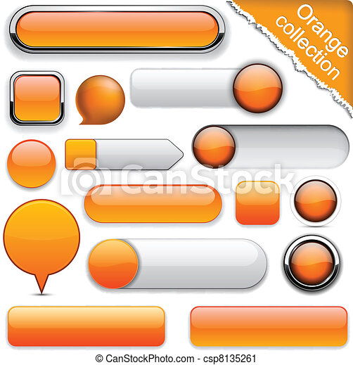 Orange high-detailed modern buttons. - csp8135261