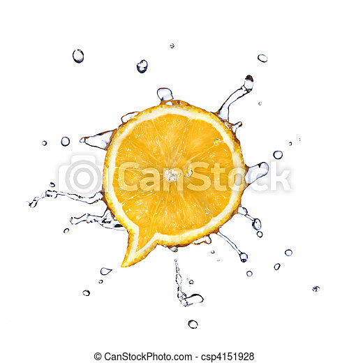 Orange in shape of dialog box with water drops isolated on white - csp4151928