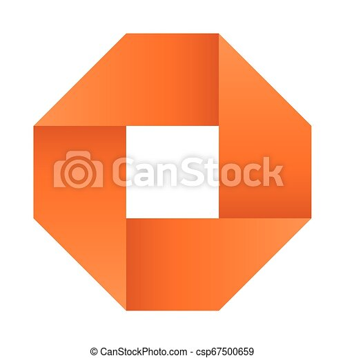 Orange infinite ribbon loop folded in a shape of square. 3D-like vector symbol. Modern icon design - csp67500659