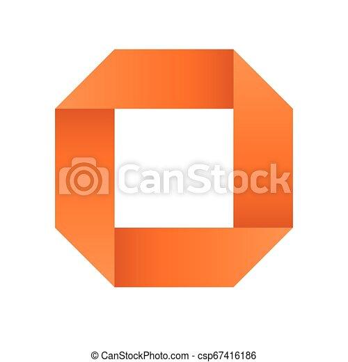 Orange infinite ribbon loop folded in a shape of square. 3D-like vector symbol. Modern icon design - csp67416186