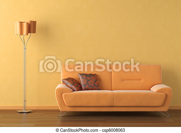 orange interior design scene - csp6008063
