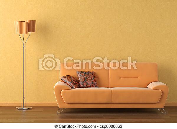 orange interior design scene - csp6008063