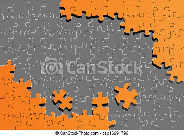 Orange jigsaw puzzle vector background - csp16991796