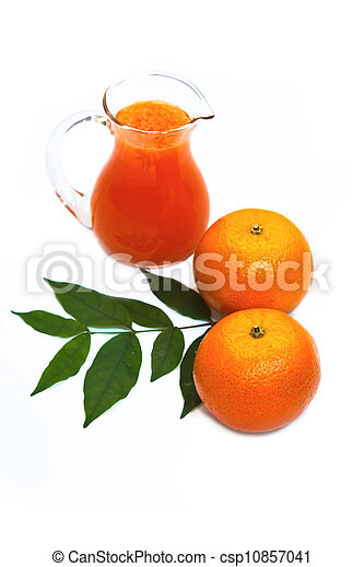 Orange juice in pitcher and oranges - csp10857041
