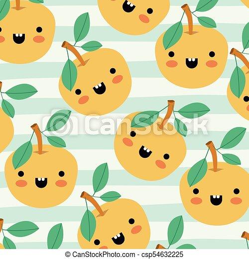 orange kawaii fruits pattern set on decorative lines color