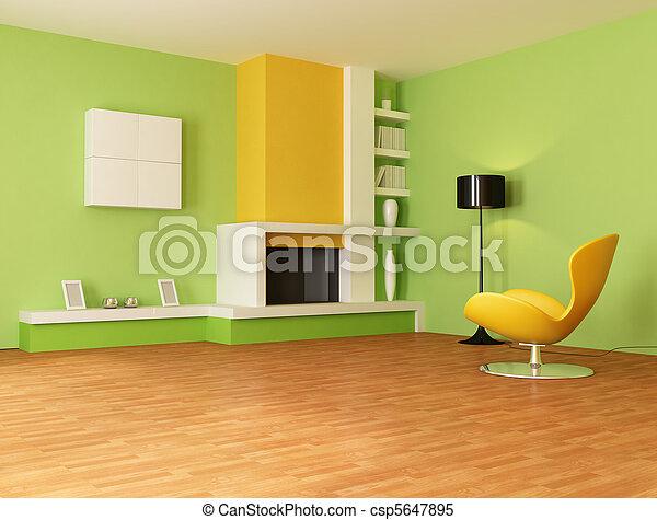 Orange, lebensunterhalt, grün, zimmer. Wohnzimmer, modern, -, gelber ...