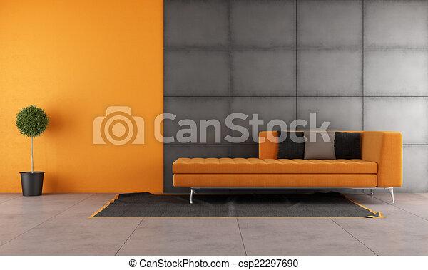 Orange, lebensunterhalt, schwarz, zimmer. Wohnzimmer, sofa ...
