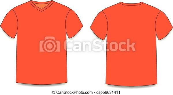 a1f739845 Orange men's t-shirt template v-neck front and back side views. vector of  male t-shirt wearing illustration isolated on transparent background.
