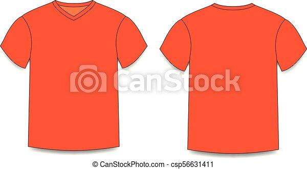Orange Men S T Shirt Template V Neck Front And Back Side Views